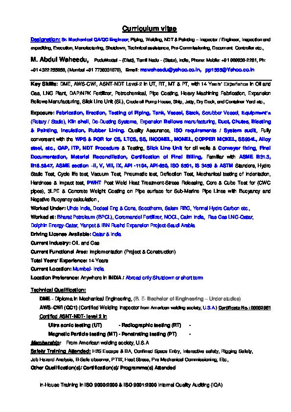 PDF) Curriculum vitae | ali hamad - Academia edu