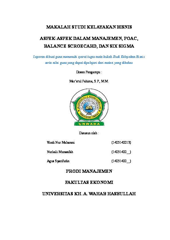 Doc Makalah Studi Kelayakan Bisnis Vindy Nur Maharani Academia Edu