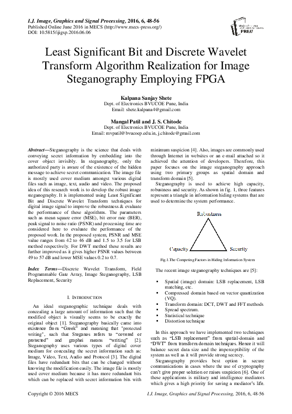 PDF) Least Significant Bit and Discrete Wavelet Transform Algorithm