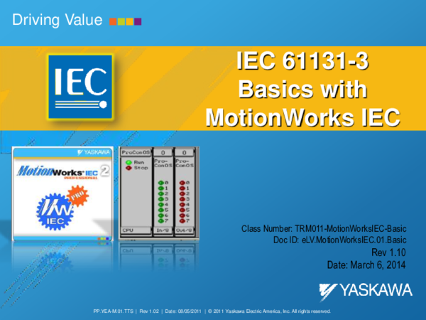 PDF) Driving Value IEC 61131-3 Basics with MotionWorks IEC