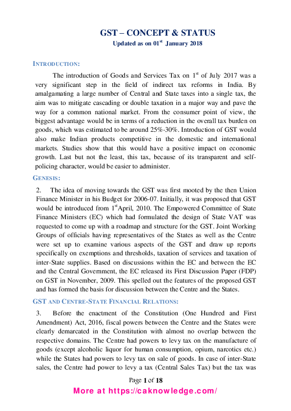 PDF) GST Overview, GST Concept and Status CAknowledge.pdf | Raju ...