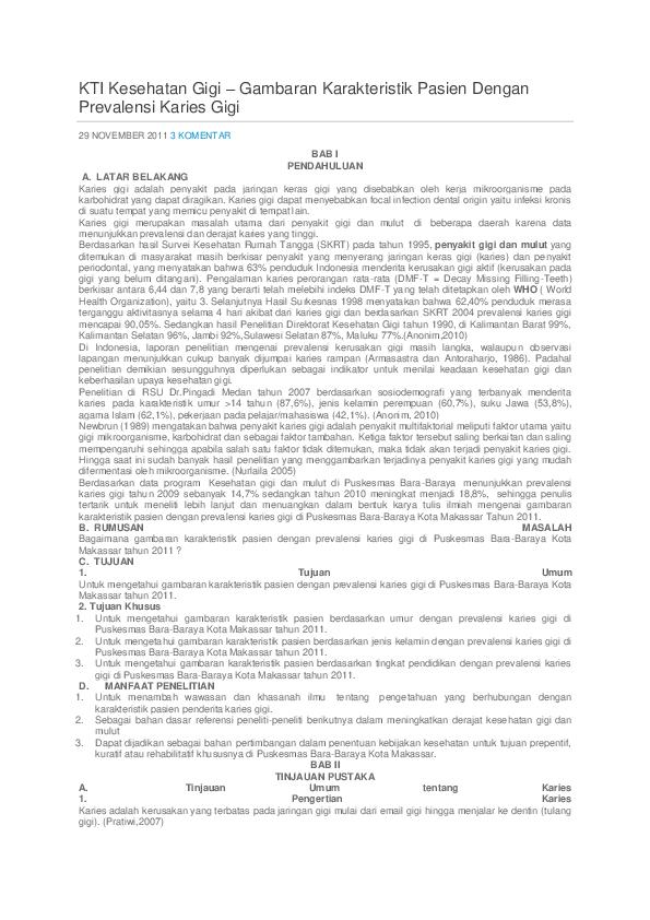 Doc Kti Kesehatan Gigi Gambaran Karakteristik Pasien Dengan Prevalensi Karies Gigi Nuurafiah Taufan Academia Edu