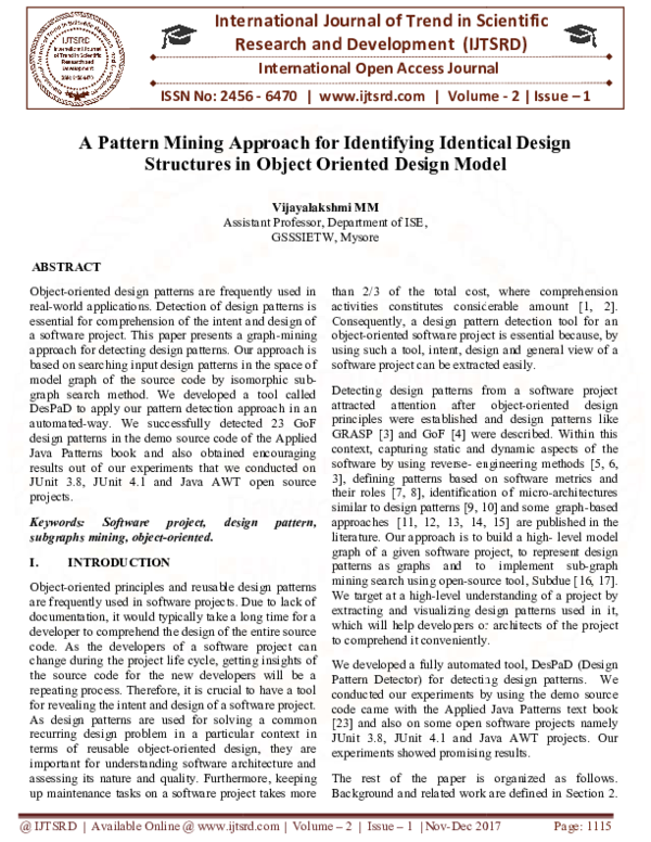 Pdf A Pattern Mining Approach For Identifying Identical Design Structures In Object Oriented Design Model International Journal Of Trend In Scientific Research And Development Ijtsrd Academia Edu