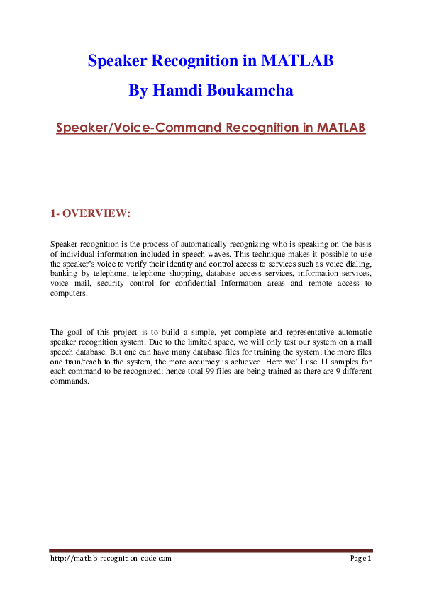 DOC) Speaker Recognition in MATLAB By Hamdi Boukamcha