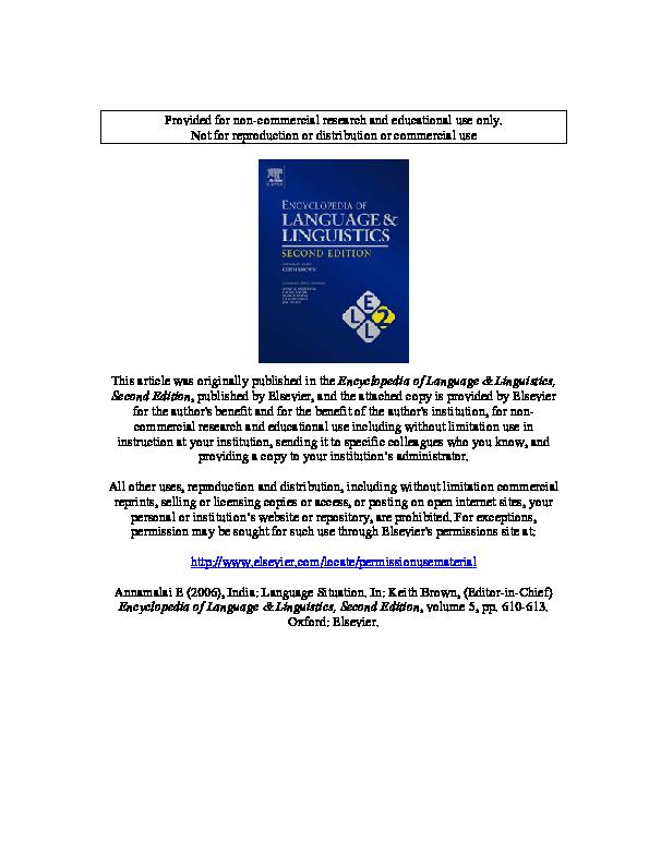 PDF) Language situation in India pdf | Elay Annamalai