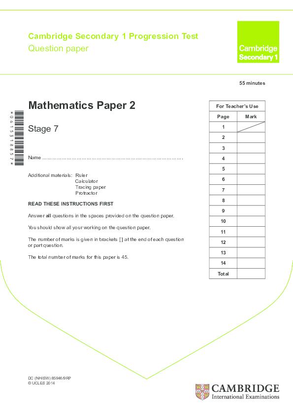 PDF) Cambridge Secondary 1 Progression Test | Hwa Ying Cushion