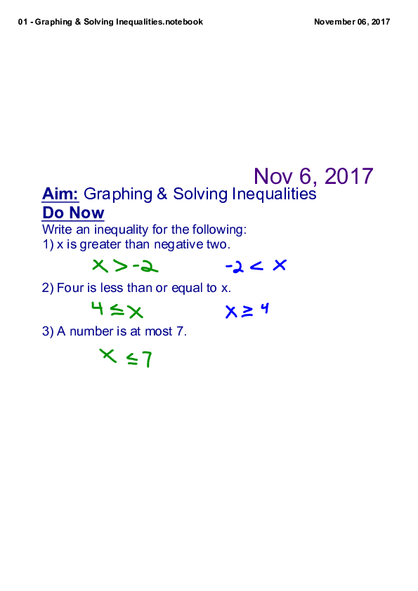 PDF) Aim: Graphing & Solving Inequalities Do Now | touella