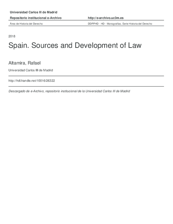 Pdf Rafael Altamira Spain Sources And Development Of Law