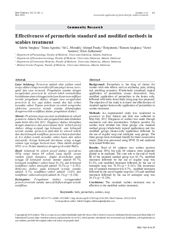 Pdf Effectiveness Of Permethrin Standard And Modified Methods In Scabies Treatment Aan Wahyudin Academia Edu