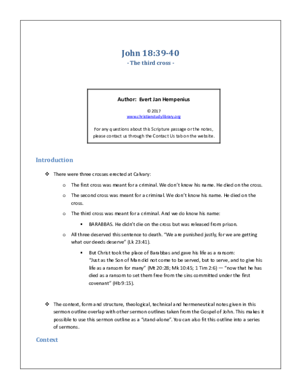 PDF) The third CROSS - John 18 39-40 pdf   Evert Jan Hempenius