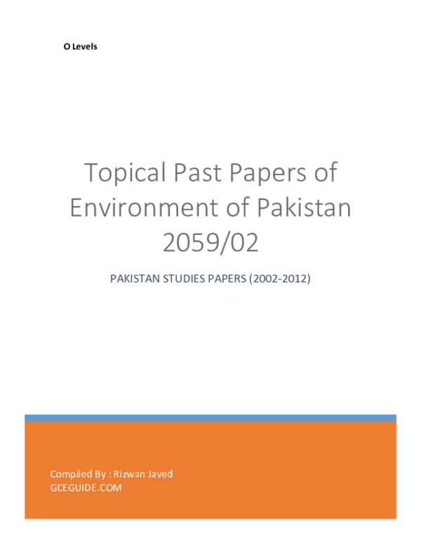 PDF) Topical Past Papers of Environment of Pakistan 2059/02 O Levels