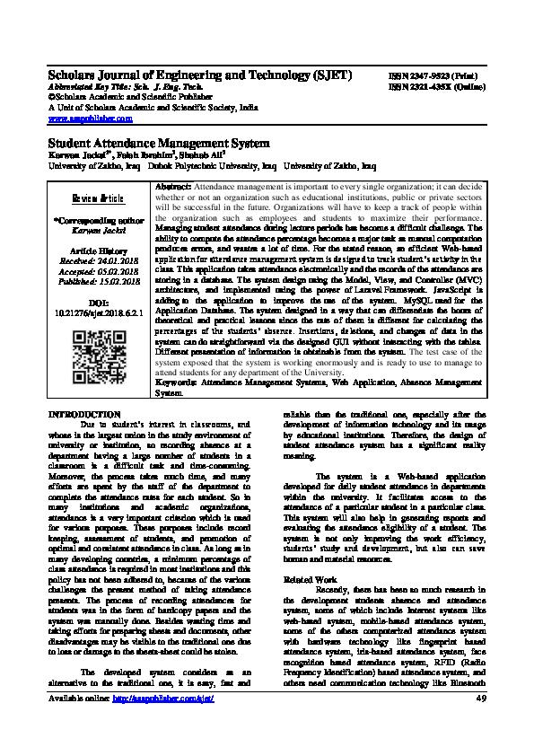 PDF) Student Attendance Management System | Karwan Jacksi - Academia edu