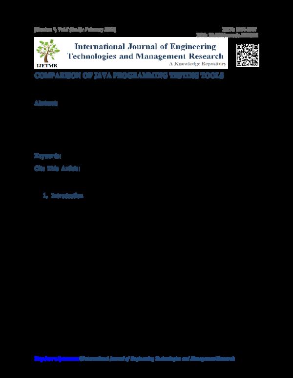 PDF) COMPARISON OF JAVA PROGRAMMING TESTING TOOLS
