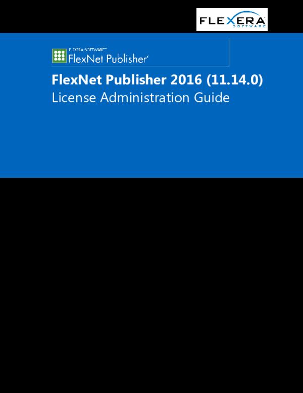 PDF) FlexNet Publisher 2016 (11 14 0) License Administration