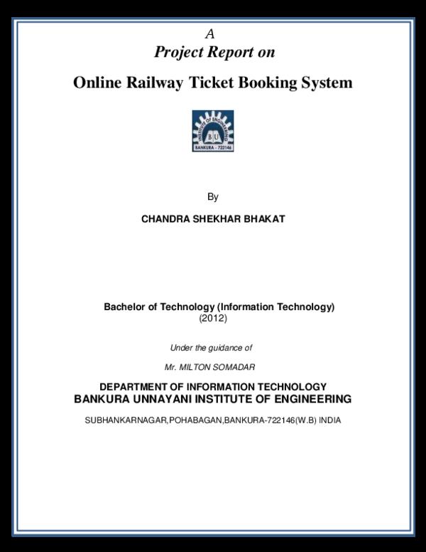 PDF) Online Railway Ticket Booking System | ankush aggarwal