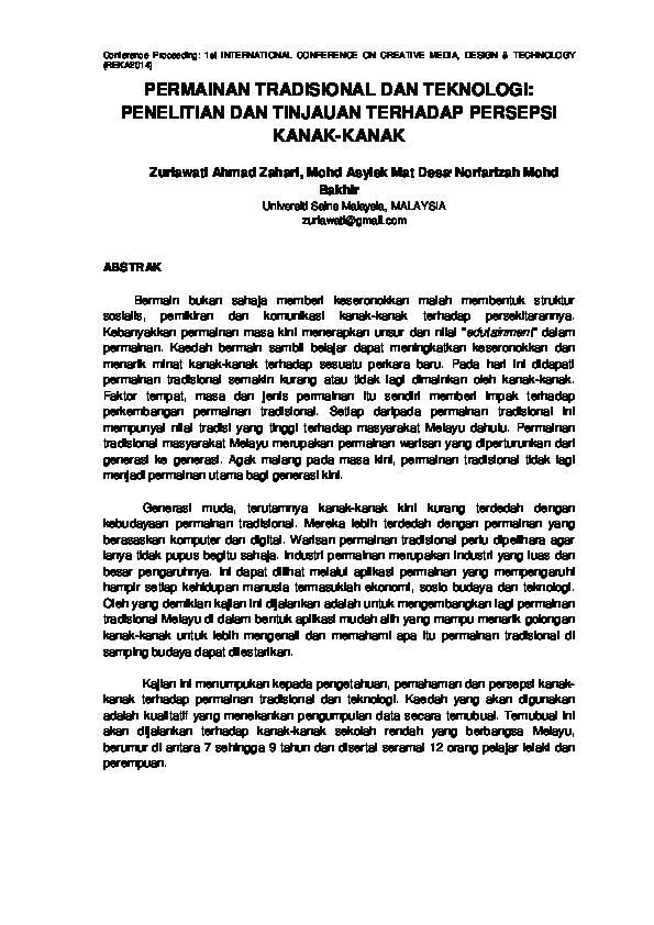 Pdf Permainan Tradisional Dan Teknologi Penelitian Dan Tinjauan Terhadap Persepsi Kanak Kanak Zuriawati Ahmad Zahari And Norfarizah M Bakhir Academia Edu