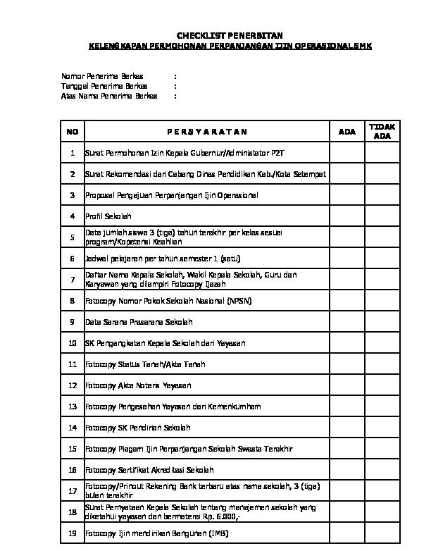 Xls Persyaratan Ijin Operasional Smk P2txlsx Asadi