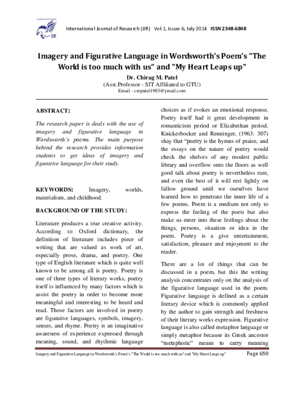 Pdf Imagery And Figurative Language In Wordsworths Poems