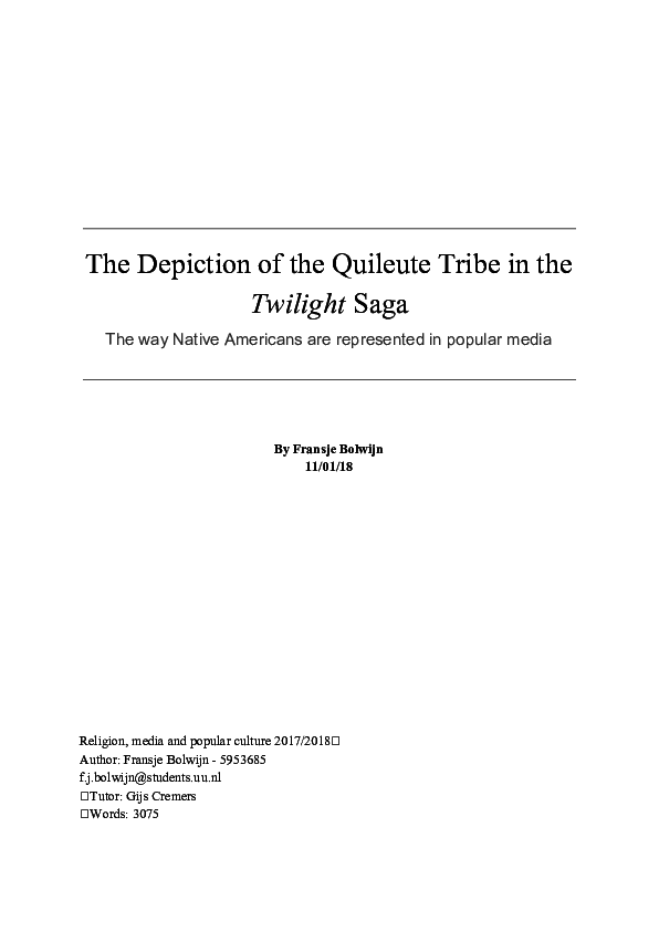 PDF) The Depiction of the Quileute Tribe in the Twilight Saga
