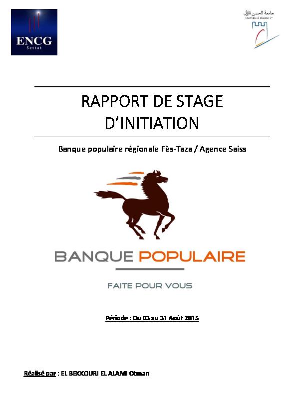 Pdf Rapport De Stage Banque Populaire Otman El Bekkouri