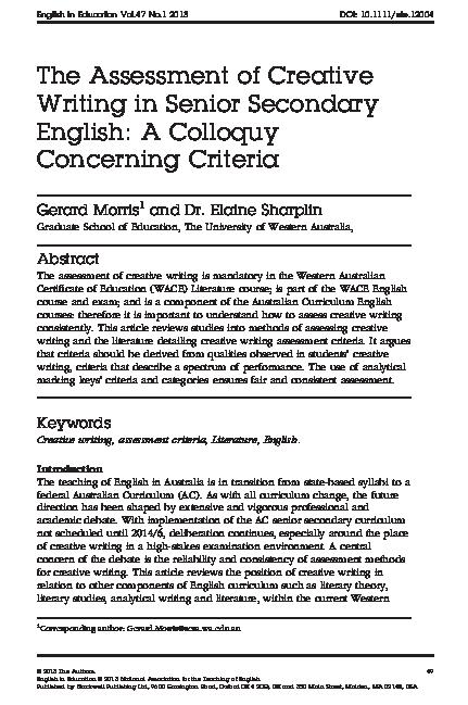 Creative Writing Example Rubric
