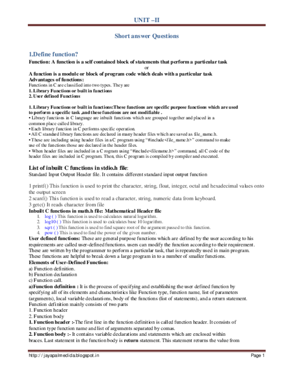 PDF) UNIT –II Short answer Questions | Hero Homi - Academia edu