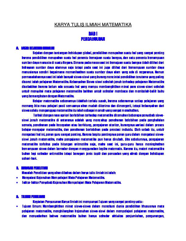 Doc Karya Tulis Ilmiah Matematika Sona Fitra Academia Edu