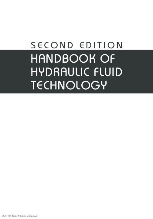 PDF) HANDBOOK OF HYDRAULIC FLUID TECHNOLOGY | Ricardo