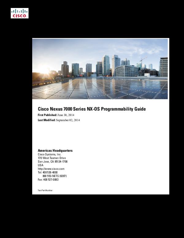 PDF) Cisco Nexus 7000 Series NX-OS Programmability Guide