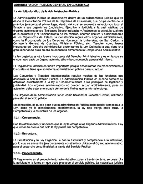 Doc Administracion Publica Central En Guatemala Beto