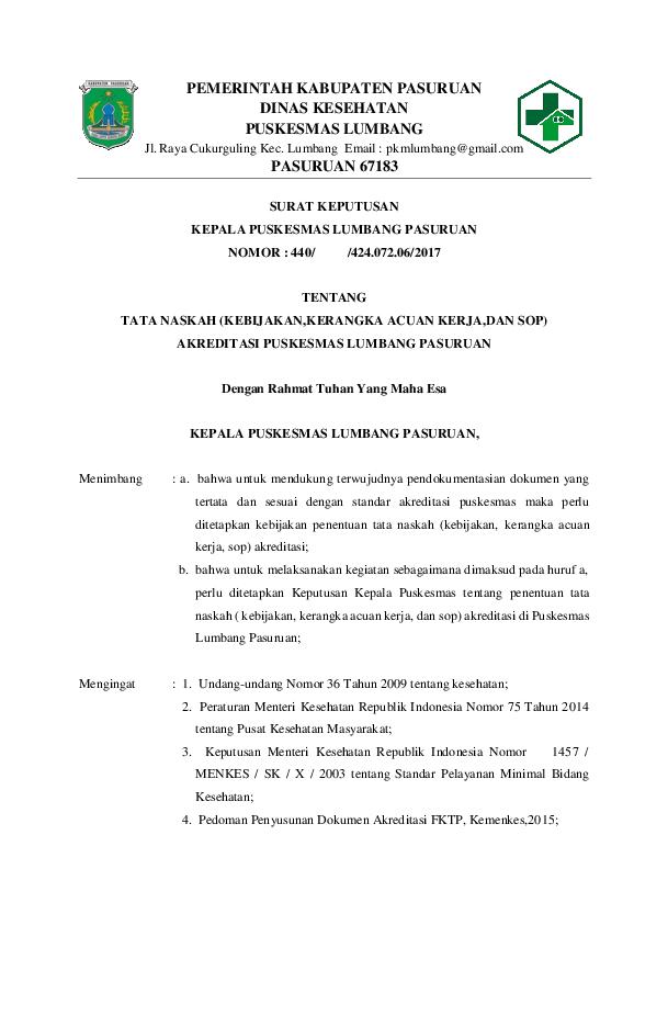 Doc Pemerintah Kabupaten Pasuruan Dinas Kesehatan Puskesmas