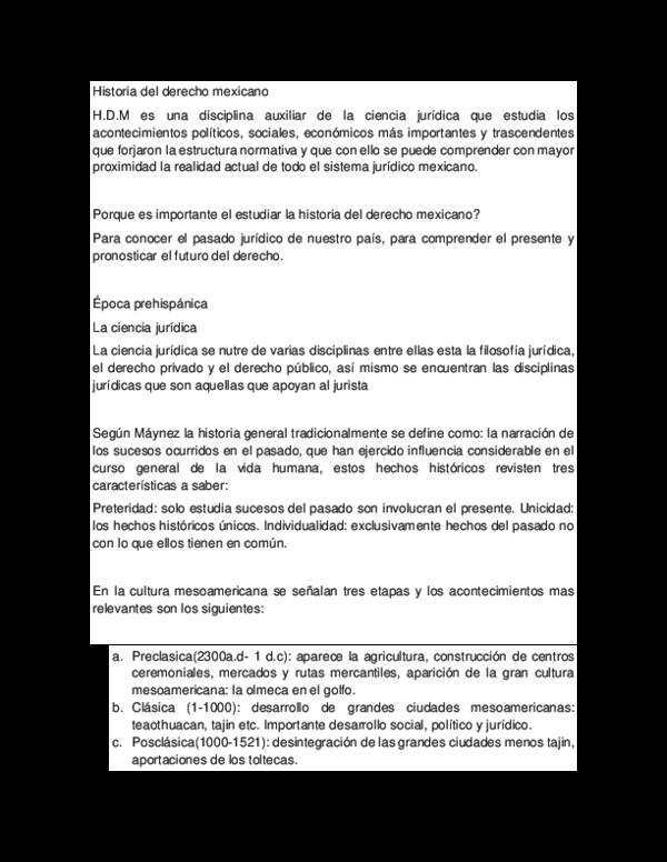 Doc Historia Del Derecho Mexicano Alexa Jaramillo