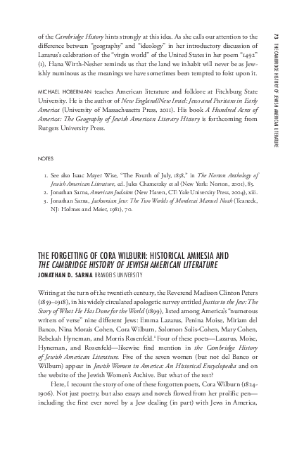 "PDF) Jonathan D  Sarna, ""The Forgetting of Cora Wilburn: Historical"