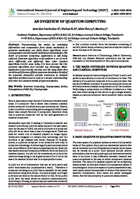 PDF) AN OVERVIEW OF QUANTUM COMPUTING | IRJET Journal - Academia edu