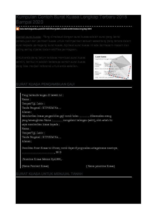 Pdf Kumpulan Contoh Surat Kuasa Lengkap Terbaru 2018 Sampai