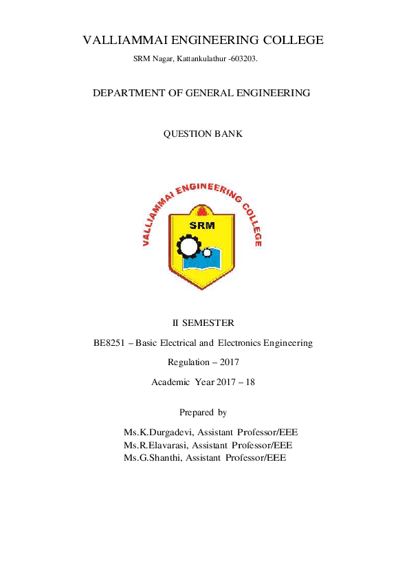 PDF) BE8251-Basic Electrical and Electronics Engineering