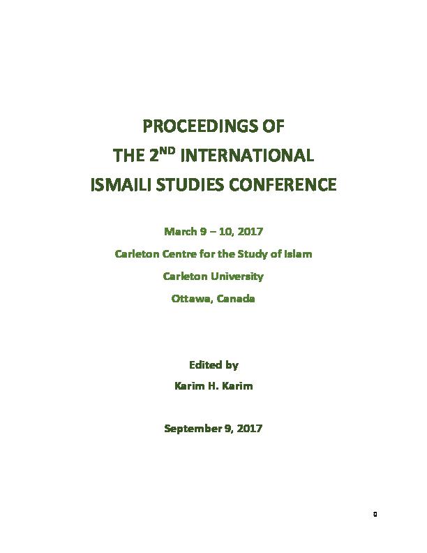 PDF) PROCEEDINGS OF THE 2 ND INTERNATIONAL ISMAILI STUDIES