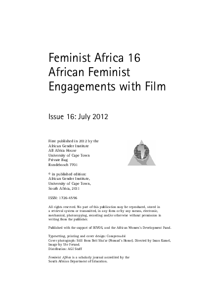 e3367fe0114 PDF) Feminist Africa 16 African Feminist Engagements with Film ...