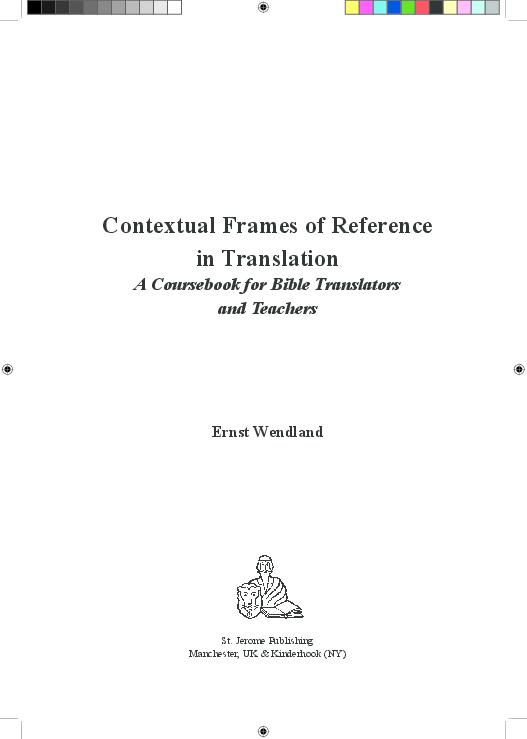 PDF) CONTEXTUAL FRAMES OF REFERENCE IN TRANSLATION | ERNST WENDLAND