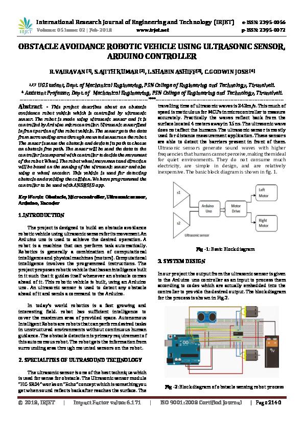PDF) OBSTACLE AVOIDANCE ROBOTIC VEHICLE USING ULTRASONIC SENSOR