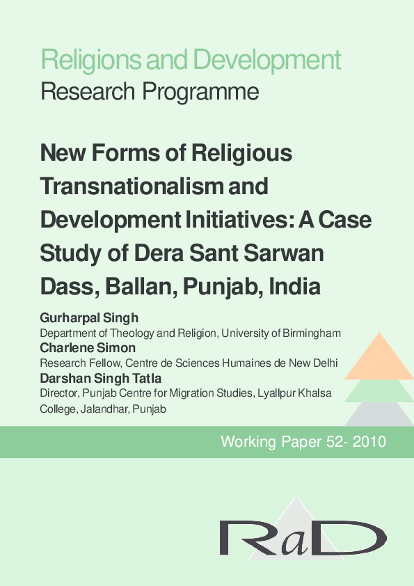 PDF) Religions and Development Research Programme New Forms of