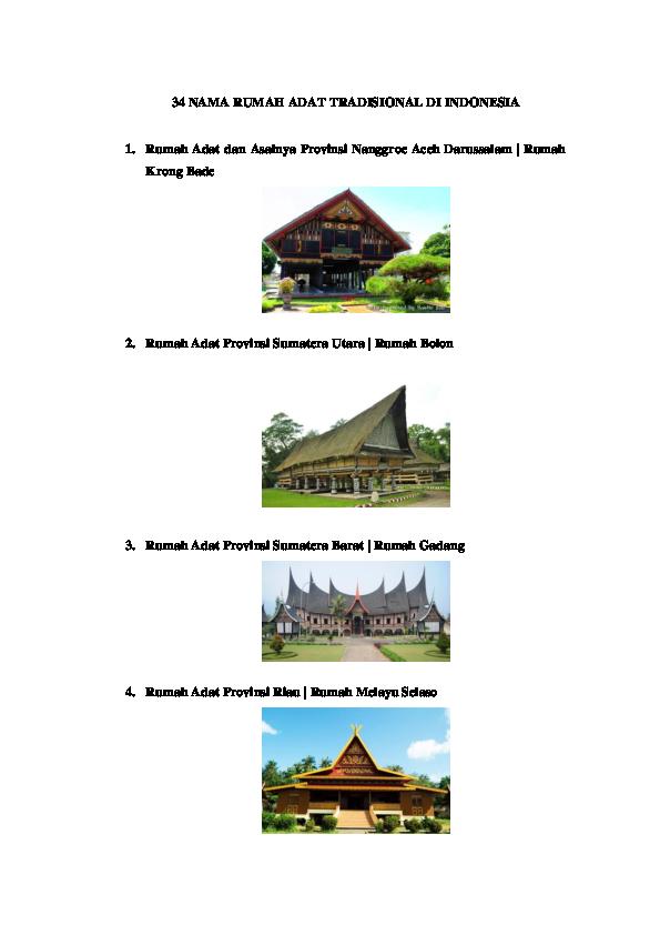 Doc 34 Nama Rumah Adat Tradisional Di Indonesia Docx Riza Satria Academia Edu