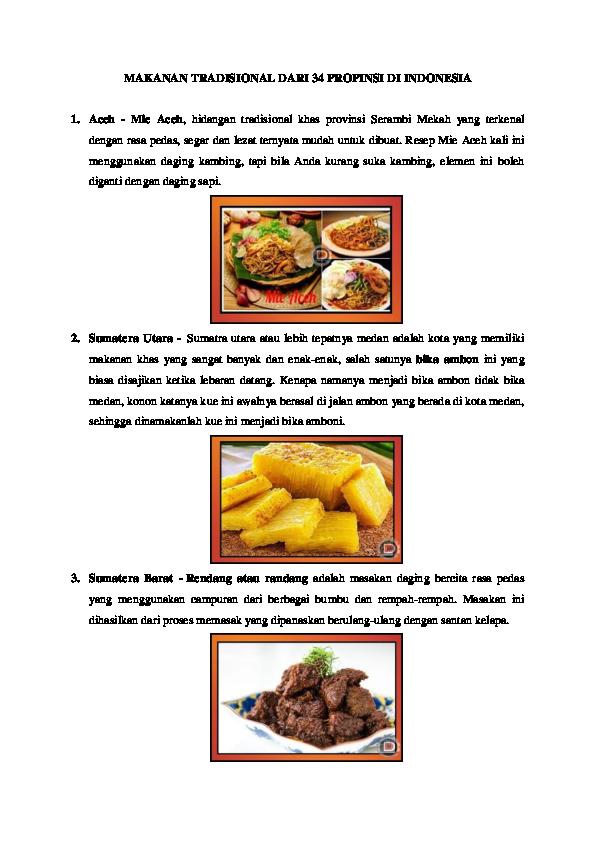 Doc Makanan Tradisional Dari 34 Propinsi Di Indonesia Docx