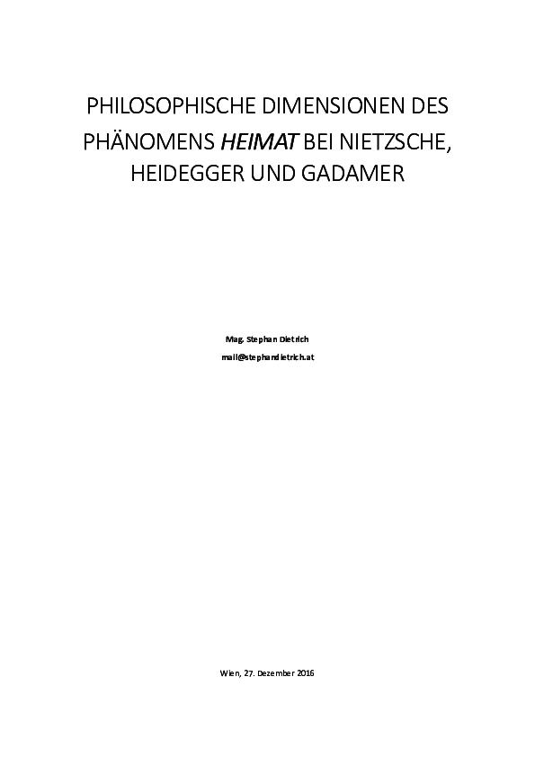 Pdf Philosophische Dimensionen Des Phänomens Heimat Bei