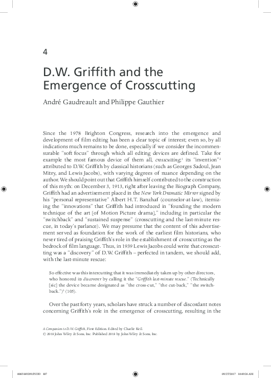 PDF) [In English] D  W  Griffith and the Emergence of