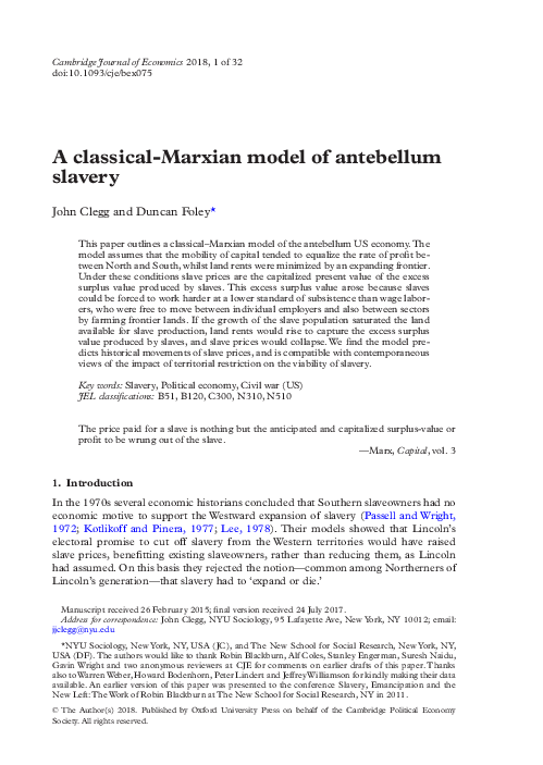 A Classical Marxian Model Of Antebellum Slavery Duncan Foley And