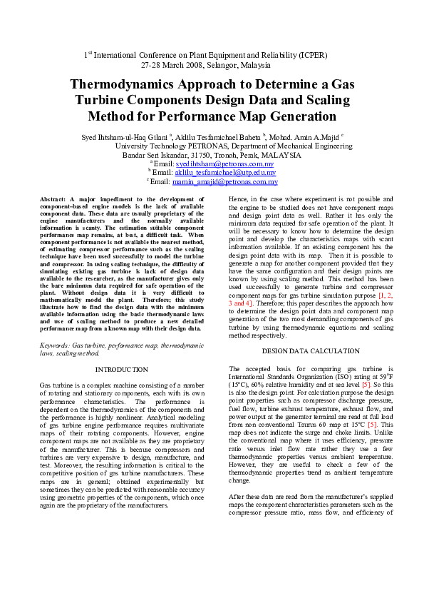 PDF) Thermodynamics Approach to Determine a Gas Turbine
