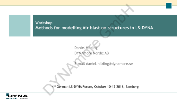 PDF) Methods for modelling Air blast on structures in LS-DYNA