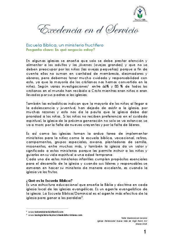 Pdf Taller Para Maestros De Escuela Dominical Excelencia En El