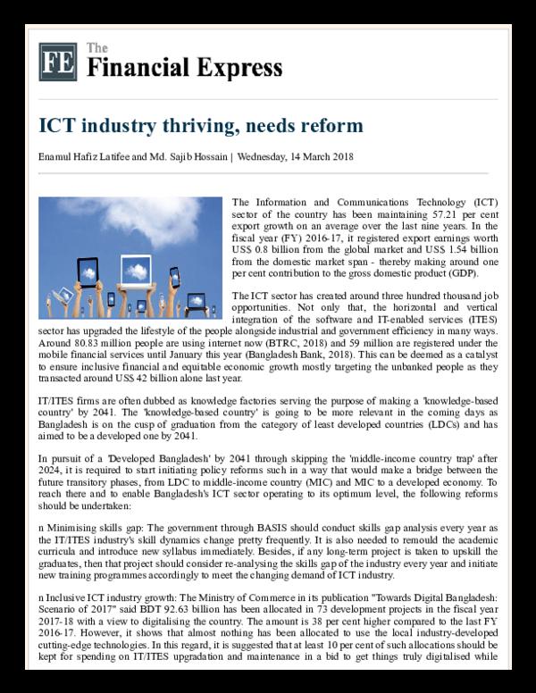 PDF) ICT industry thriving, needs reform | Enamul Hafiz